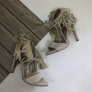 Zara Basic Collection Faux Suede Fringe Heels SZ 8